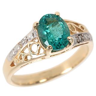 Accédez au prestige ! Or 375 1 émeraude de 1 carat 2 éclats de diamant.