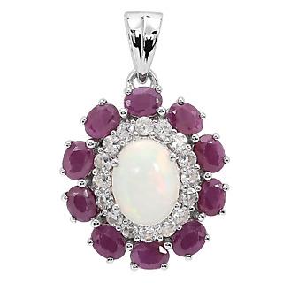 Un bijou envoà»tant et généreux ! Argent 925 rhodié 1 opale de 1ct 10 rubis totalisant 1.9ct Satisfait ou remboursé 15 jours.