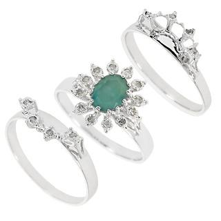 Emeraude et diamants ! Argent 925 rhodié 1 émeraude (traitée) 0.7ct 20 diamants totalisant 0.08ct.