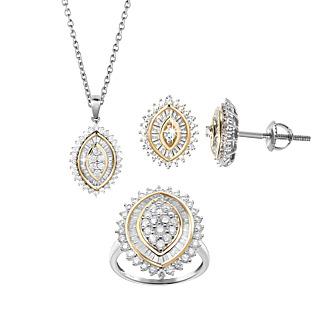 Une promesse pour l'éternité. Argent 925 rhodié et plaqué or 105 diamants taille baguette 90 diamants taille ronde Chaîne mailles forà§at.