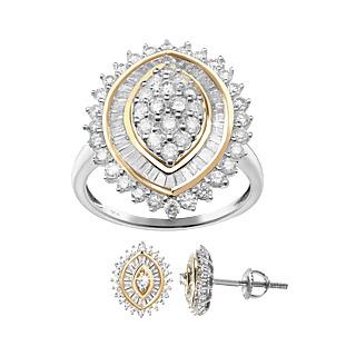 Une promesse pour l'éternité. Argent 925 rhodié et plaqué or 76 diamants taille baguette 56 diamants taille ronde 1 carat.