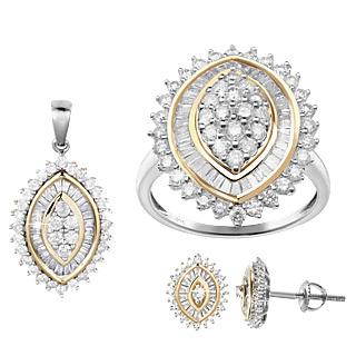 Une promesse pour l'éternité. Argent 925 rhodié et plaqué or 105 diamants taille baguette 90 diamants taille ronde 1.65 carat.