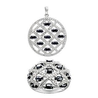 La délicatesse des saphirs noirs! Argent 925 rhodié 22 saphirs noirs totalisant 5.77ts 2 éclats de diamants.