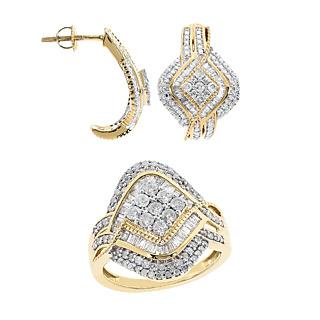 Ivresse de diamants. Argent 925 plaqué or 175 diamants pour 1.58ct.
