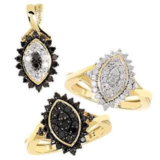 Rêve de diamant ! Argent 925 plaqué or 20 diamants noirs 0.4ct 4 diamants blancs 0.1ct.