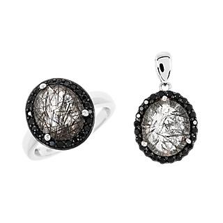 Des bijoux ensorcelants. Argent 925 rhodié 2 quartz rutile 5.08cts 48 spinelles noires.