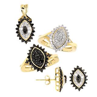 Rêve de diamant ! Argent 925 plaqué or 54 diamants blancs 0.66ct 32 diamants noirs 1ct.