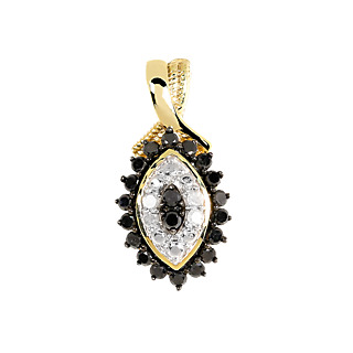 Rêve de diamant ! Argent 925 plaqué or 20 diamants noirs 0.4ct 4 diamants blancs 0.1ct.