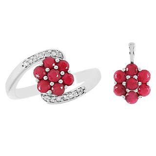 Une floraison de rubis. Argent 925 rhodié 14 rubis traités pour 1.82ct 14 zircons naturels.