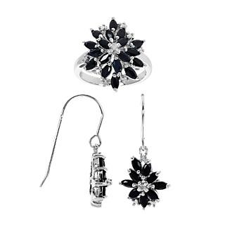 2 bouquets éternels ! Argent 925 rhodié 36 saphirs totalisant 3.06cts 4 éclats de diamants.