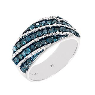 Les diamants sont éternels. Argent 925 rhodié 36 diamants bleus pour 0.90ct.