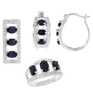Une trilogie de saphirs ! Argent 925 rhodié 12 saphirs totalisant 4.81cts 4 éclats de diamant.