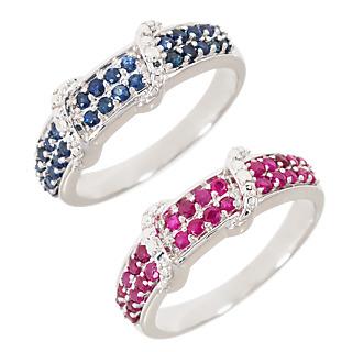 Un intemporel ! Argent 925 rhodié 28 saphirs (traités) 0.50ct 28 rubis (traités) 0.60ct 4 éclats de diamant.