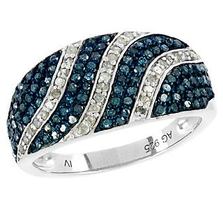 Un mariage divin ! Argent 925 rhodié 104 diamants bleus traités 33 diamants blancs.