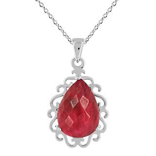 Un rubis grandiose ! Argent 925 rhodié 1 rubis traité forme poire 10.43 carats Une chaîne maille forà§at.
