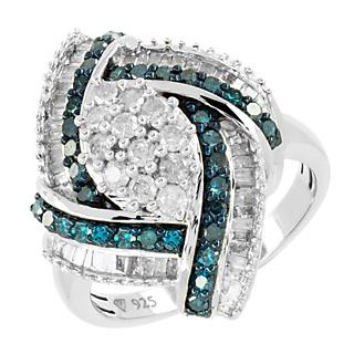 Harmonie diamants Blancs & bleus. Argent 925 rhodié 64 diamants blancs 34 diamants bleus Serti grain rhodié noir.