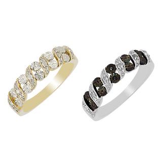 à‰légance intemporelle. Argent 925 rhodié et plaqué or 10 diamants blancs 0.10ct Serti illusion.