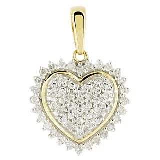 Coeur de diamants. Argent 925 plaqué or jaune 3 microns 40 diamants blancs 0.20ct Serti griffes/grains.