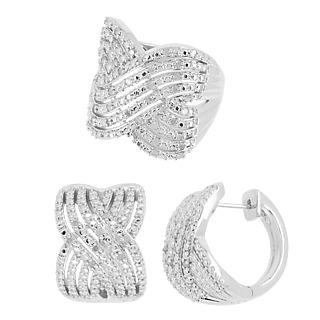 Diamonescence Bague Exquise Diamant 1/2ct+boucles Doreilles