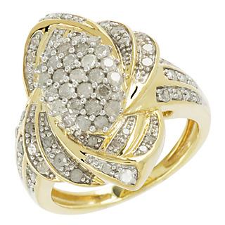 1 carat de diamants ! Argent 925 plaqué or 139 diamants taille brillant 1 carat.