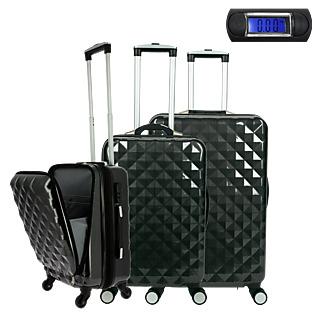 Les valises première classe ! 3 tailles différentes, extensibles Poche de rangement frontal Balance intégrée à la poignée Résistantes, légères et maniables.