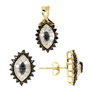 Rêve de diamant ! Argent 925 plaqué or 28 diamants noirs 0.9ct 24 diamants blancs 0.17ct.