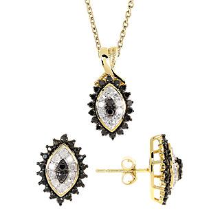 Rêve de diamants ! Argent 925 plaqué or 40 diamants noirs pour 0.90ct 12 diamants blancs.