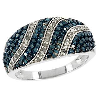 Un mariage divin de diamants. Argent 925 rhodié 104 diamants bleus traités 33 diamants blancs 0.75 carat.