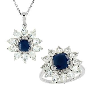 Une marque d'élégance. Argent 925 rhodié 2 saphirs traités 2.33cts 22 topazes, 2 éclats de diamant Chaîne maille forà§at.