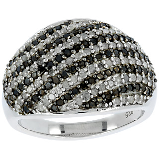 L'union du diamant noir et blanc. Argent 925 rhodié 86 diamants noirs 0.43 carat 89 diamants incolores 0.45 carat.