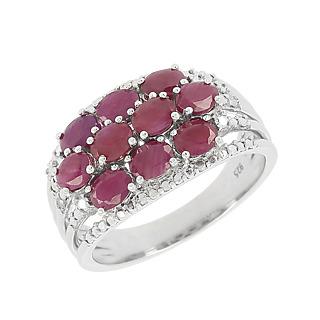 La célébration du rubis. Argent 925 rhodié 10 rubis pour 2.10cts 2 éclats de diamant.