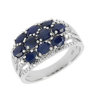La célébration du saphir. Argent 925 rhodié 10 saphirs pour 2.10 cts 2 éclats de diamant.