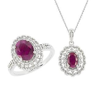Une monture royale ! Argent 925 rhodié 2 rubis pour 3cts 2 éclats de diamant Chaîne maille forà§at.
