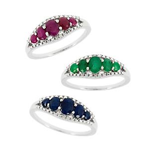 Un festival de pierres précieuses. Argent 925 rhodié 5 rubis, 5 saphirs 5 émeraudes 6 éclats de diamant.