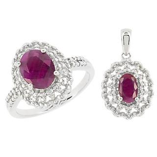 Une monture royale ! Argent 925 rhodié 2 rubis pour 3cts 2 éclats de diamant.