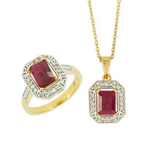 Un style Art deco Argent 925 plaqué or 2 rubis 3 carats 36 topazes incolores Chaîne maille forà§at.