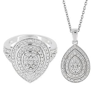 Diamonescence Parure Goutte Diamants 1/2 Carat + Chaîne