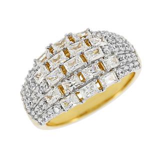 Un damier de lumière. Argent 925 plaqué or jaune 17 Demoni taille baguette 39 Demoni taille ronde 2 carats*.