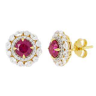 Rouge coquelicot Argent 925 plaqué or jaune 2 Demoni couleur rubis 26 Demoni incolores 2.58 carats*.