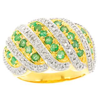 Un hommage à la nature. Argent 925 rhodié Argent 925 plaqué or 22 émeraudes 0.66ct 1 éclat de diamant.