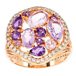 Un jeu de lumière exceptionnel Argent 925 plaqué or rose 7 améthystes violettes 5 améthystes roses 122 topazes incolores.