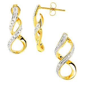 L'amour éternel Argent 925 plaqué or 3 diamants 0.02 carat.