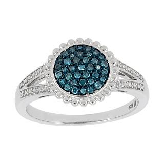Extrême délicatesse. Argent 925 plaqué or 37 diamants bleus (traités) 0.26 carat.