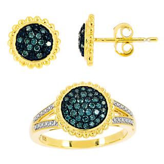 Extrême délicatesse. Argent 925 plaqué or 63 diamants bleus traités 0.39 carat.