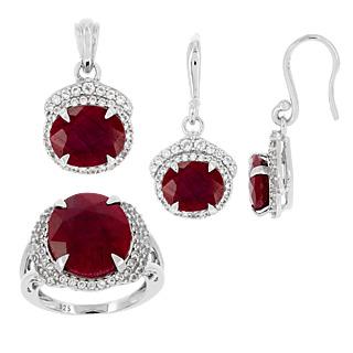 Passion et élégance ! Argent 925 rhodié 4 rubis facettés traités totalisant 22 carats 156 topazes totalisant 1,32 carats.
