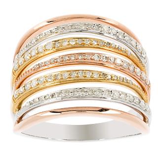 Une bague de prestige. Argent 925 rhodié Argent 925 plaqué or jaune et rose 92 diamants 1/2 carat.