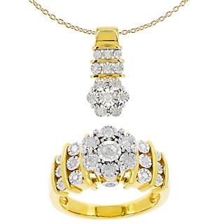 Des flocons de diamant Argent 925 plaqué or jaune 34 diamants 0.59 carat Chaîne maille forçat