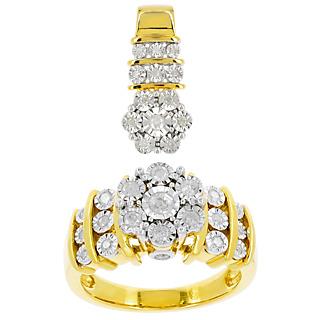 Des flocons de diamants Argent 925 plaqué or jaune 34 diamants 0.59 carat.
