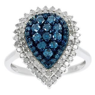 Un bleu profond. Argent 925 rhodié 35 diamants bleus traités 64 diamants incolores 1.07 carat.