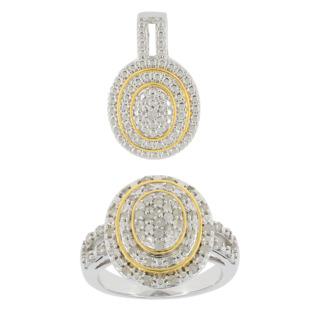 Un tourbillon de diamants !. Argent 925 plaqué or 59 diamants 1/2 carat Pendentif offert.